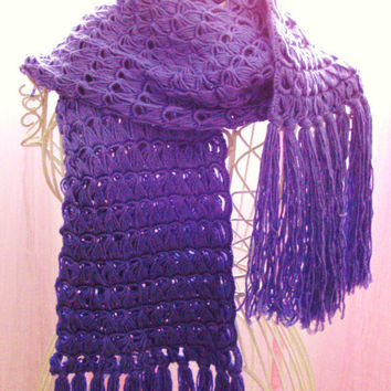 Crochet Scarf - Purple Broomstick Lace - Soft Bamboo Blend Lavender Neckwarmer