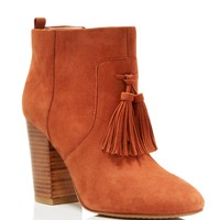 FRENCH CONNECTION Linds Tassel Stacked Heel Booties
