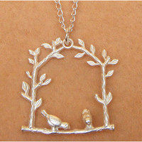 Bird Branch Necklace by turquoisecity on Etsy