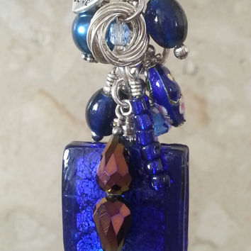 Vintage Style Royal Cobalt Blue Beaded Bag Charm, Silver Foil Murano Style Glass Tile, Teacher Gift Present, Lampwork Cloisonne Beads #43