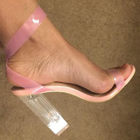 Pink Friday Clear Strap Perspex Heels