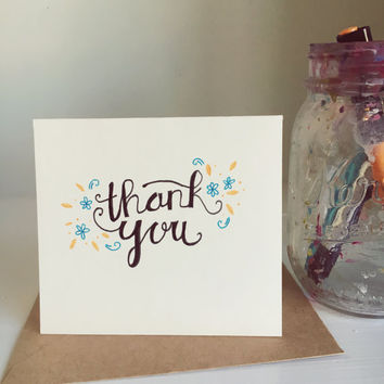 Thank You Card | Calligraphy | blue flowers | orange decals