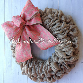 Summer Burlap Wreath - Shabby Chic Wreath - Spring Wreath - Lace Bow Wreath