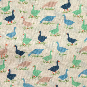 Japanese Fabric - linen blend voile - geese - mint green, blue, grey on natural