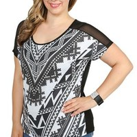 plus size aztec print dolman top with stud accents and mesh back