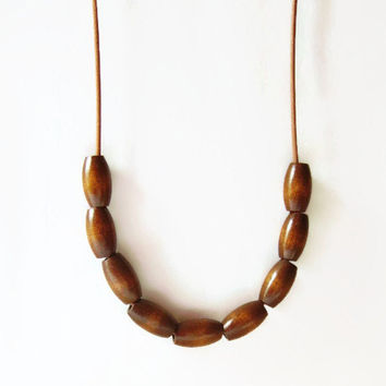 Wood and leather necklace, Large wood bead necklace, Chunky wood necklace, Leather jewelry