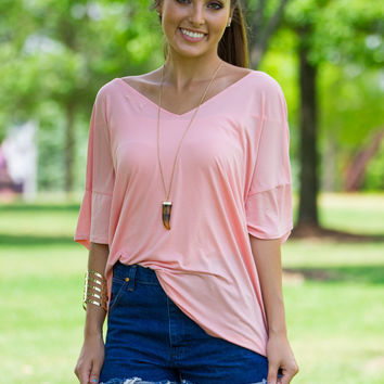 Slouchy V-Neck Piko Top-Peach