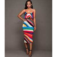 Multicolor Spaghetti Strap Ruffles Midi Dress