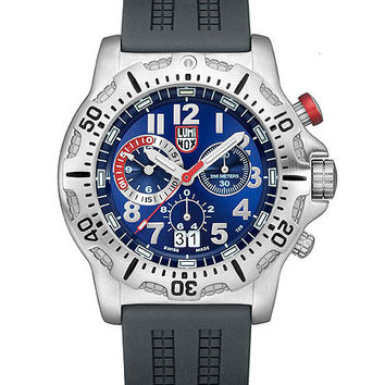 Luminox Red Pusher Dive Chronograph for Men - Blue Dial - Steel Case - PU Strap