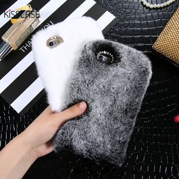 KISSCASE Cute Phone Case For iPhone 6 6s Plus Genuine Rabbit Fluffy Fur Cases For iPhone 7 8 Plus Luxury Bling Diamond Warm Capa