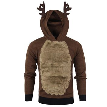 moletom bts kpop 2018 Men Autumn Winter Xmas Hoody Reindeer Feather Hooded Christmas Fur 3D Blouse Top