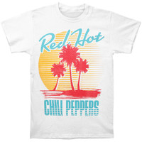 Red Hot Chili Peppers Men's  Beach Scene T-shirt White Rockabilia