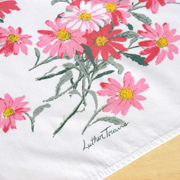 "Vintage Luther Travis Tablecloth 47""x52"" Card Table Size White Cotton Pink Flowers Midcentury 1950's // Vintage Table Linens"