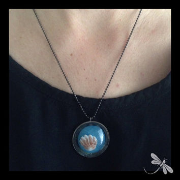 Florida Kitten's Paw Shell and Resin Necklace N71