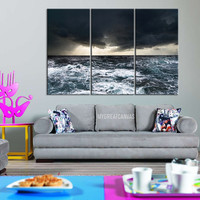 Canvas Print Large Size GICLEE Framed 3 Panel Canvas Print - Ocean Storm Canvas Print - Ocean Wave Art Canvas Print