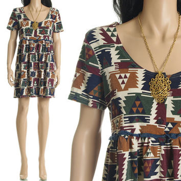 Vintage 90s Mini Dress - Ethnic Southwestern Print Babydoll Mini Dress Boho Hippie