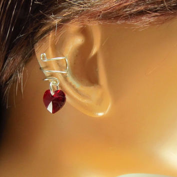 Birthstone Hearts Sterling Ear Cuff Swarovski Crystals