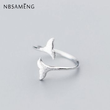 NBSAMENG 100% 925 Sterling Silver Mermaid Tail Whale Opening Size 5 6 7 Adjustable Rings For Women Girl Gift Ring Jewelry