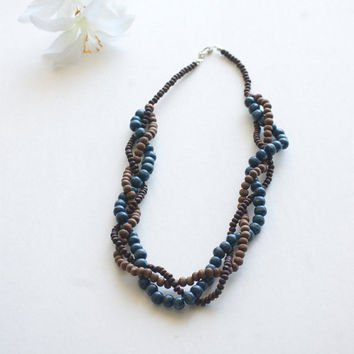 Necklace Bohemian Wood Beads Braided Necklace Blue Dark Brown Statement Necklace - statement necklace - boho jewelry - wooden jewelry - wood