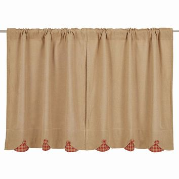 Burlap with Red Check Tier Curtains 36""