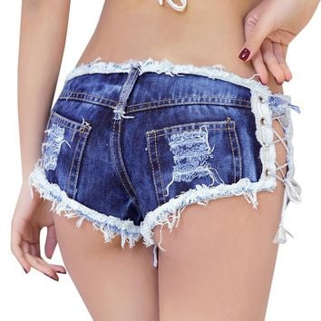 Summer Denim Shorts 2018 Women Vintage Tassel Hole Ripped Low Waist Short Jeans Hollow Out Sexy Club Mini Lace Up Bandage Shorts