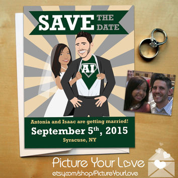 Superhero Save The Date Magnets: Custom Super Hero Cartoon Portrait, Comic Book Save The Dates, Comic Book Wedding, Superhero Wedding