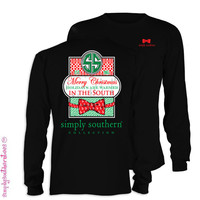 Simply Southern Merry Christmas in the South Bow Girlie Bright Long Sleeve T Shirt