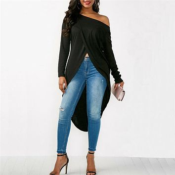 Solid One Shoulder Irregular High Split Blouses Fashion Women Chic Hem Long Sleeve Shirt Tops Blouse blusas mujer de moda 2019