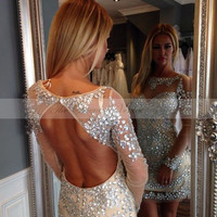 2017 Sparkly Beaded Crystal Short Cocktail Dresses Long Sleeves Mini Party Gowns Sexy Open Back Prom Dress Vestido coctel corto