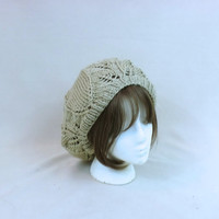 Beige Slouchy Beanie Lace Hat Baggy Knit Large Slouch Tan Cream Camel
