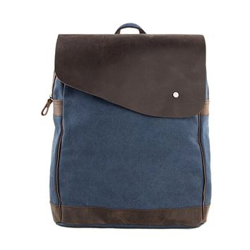 Handmade Canvas with Leather School Backpack - Blue