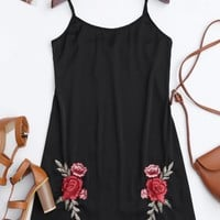Satin Floral Embroidered Slip Mini Dress