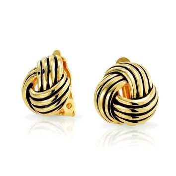 Rope Cable Love Knot Work Clip On Earring