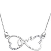 Sterling Silver 0.10 Ctw Diamond Fashion Necklace