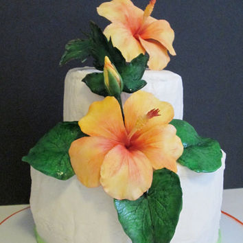 sugar hibiscus cake topper edible gum paste tropical orange yellow wedding bridal birthday celebration