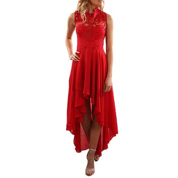 Red Floral Lace Bodice High-low Prom Dress