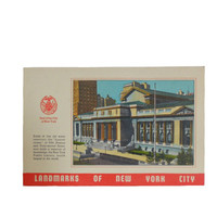 Vintage 1940s Postcard Linen - New York City Landmarks - New York Public Library - Unused