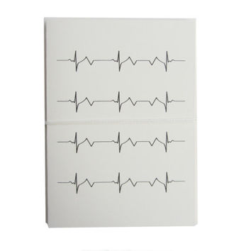 heartbeat note cards. modern stationery. black and white, minimal, unique i love you. cream neutral. 4 blank vanilla cards and envelopes