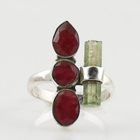Ruby & Green Tourmaline Sterling Silver Ring