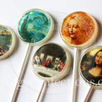"Famous paintings edible images hard candy lollipops - 2"" lollipops - 5 pc. - MADE TO ORDER"