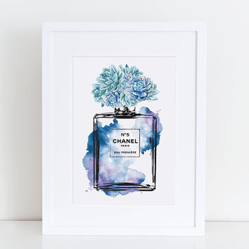 Chanel No5 print 8.5x11 blue with Succulent watercolor - flowers - Instant download. Coco Chanel Chanel poster Chanel Art Printable perfume