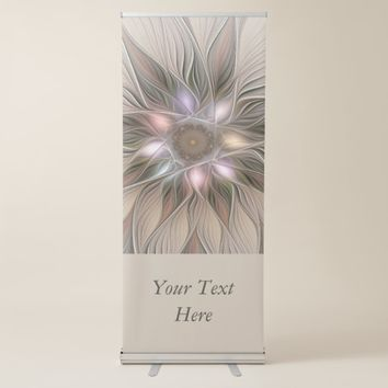 Joyful Flower Abstract Beige Brown Floral Art Text Retractable Banner
