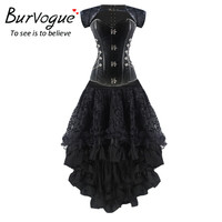 Burvogue Women High Waist Gothic Corset Set Steampunk Corset Dress Mermaid Style Corset Dress Set Summer Waist Trainer Corset