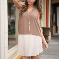 Set The Two Tone Dress, Mocha