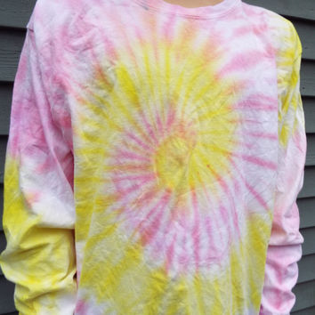 Long Sleeve Pastel Tie-Dye Tee in Pink and Yellow, unisex adult large TieDye TShirt, Hippie Clothes, Retro, Boho, Mens, Womens, 60s Party