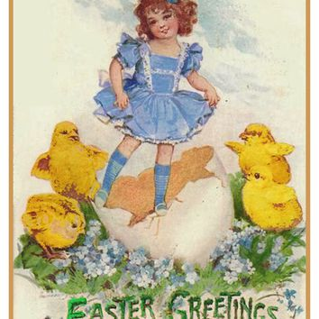 Vintage Easter Young Girl with Baby Chicks Counted Cross Stitch or Counted Needlepoint Pattern