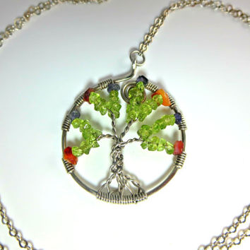 Tree of life pendant, sterling silver necklace, green tree, peridot, wire wrapped pendant, long necklace, round pendant, semi precious