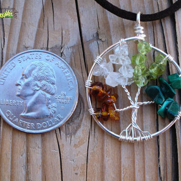 Tree of Life Jewelry - Four Seasons - Baltic Amber, Quartz, Peridot, Malachite - Made to Order - Wire Wrapped Tree - Silver Plated