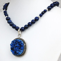 Cobalt Druzy Crystal Pendant with Lapis Lazuli and Sterling Silver Necklace