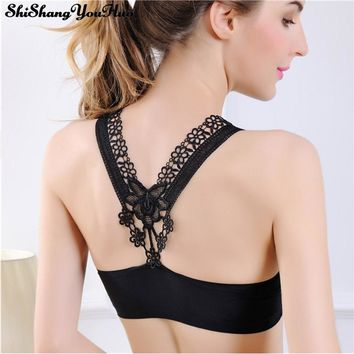 Sexy Seamless Bra Tube Tops Women Wide Cross Sling Backless Bustier Crop Top Hot Lingerie Wrapped Chest Camisole With Pad BH 806